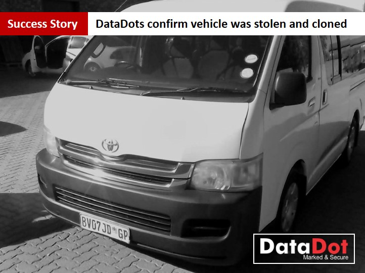 DataDot Proves Vehicle was Stolen and Cloned